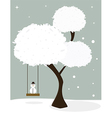 Winter tree with little snowman vector image vector image