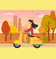woman driving scooter in autumn city park vector image vector image
