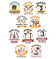 Work tools emblems set for repair construction vector image vector image