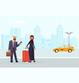 arab family characters order a yellow taxi vector image