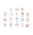 baby care set for logo design hand drawn vector image vector image