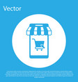 blue mobile phone and shopping cart with striped vector image vector image