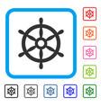 boat steering wheel framed icon vector image vector image