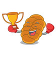 boxing winner challah mascot cartoon style vector image vector image