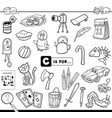 c is for educational task coloring book vector image vector image