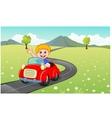 Cartoon boy driving red car