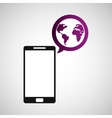 cellphone global world multimedia icon vector image vector image