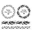 christmas fir wreath and garland vector image vector image