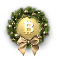 christmas wreath with bow and gold bitcoin vector image
