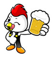 cock character is drinking beer isolated on white vector image vector image