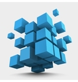 Composition of blue 3d cubes vector image