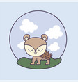 cute porcupine with landscape in frame circular vector image vector image