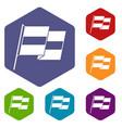 egyptian flag icons set hexagon vector image vector image