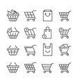 empty online shopping baskets market box line web vector image vector image