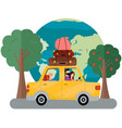 family is going on vacation on weekend car vector image vector image