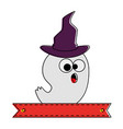 ghost with witch hat character vector image