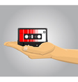 Hand holding an audio casette vector image