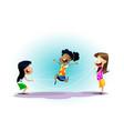 happy school multiracial children joyfully jumping vector image