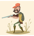 hunter with gun and backpack cartoon character vector image