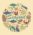 icons fish and seafood vector image vector image