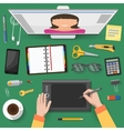 Internet Talks At Workplace Top View vector image