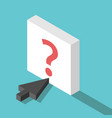 isometric cursor question button vector image vector image