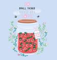 jar of strawberry jam with cute kawaii berries vector image vector image