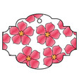 label flower sakura culture traditional pattern vector image vector image