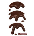 melted chocolate chocolate drops and drips 3d vector image vector image