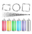 multicolored blank bottle of aerosol set vector image