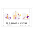 physical health website landing page sportswomen vector image vector image