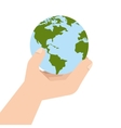 planet world hand earth ecology vector image