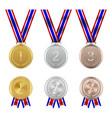 realistic award medal with flag ribbons set vector image