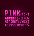 retro font pink vintage light sign set vector image