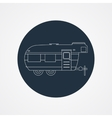 RV camping icon logo and badge Caravan on dark vector image vector image