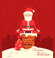 santa claus meditation on chimney in the vector image vector image