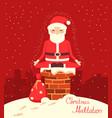 santa claus meditation on the chimney vector image vector image