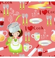 seamless pattern with little girl and kitchen vector image vector image