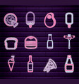set fast food with drink neon light label vector image vector image