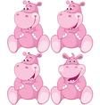 Set of pink hippopotamus first teeth vector image vector image