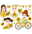 set with cute little girls and sunflowers vector image