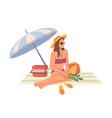 summer beach vacation woman sit under umbrella vector image