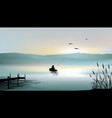 sunrise on the lake and a fisherman boat vector image vector image