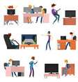 team of teenagers playing video games and vector image vector image