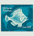 travel banner with big fish and world map vector image