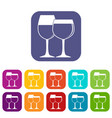 two glasses of wine icons set flat vector image