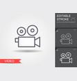 Video camera line icon with editable stroke