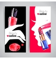 Watercolor cosmetics banner set vector image vector image