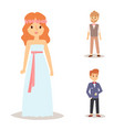 wedding bride groom woman man character dress vector image
