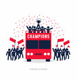 winner cup soccer champions on the open top buses vector image vector image